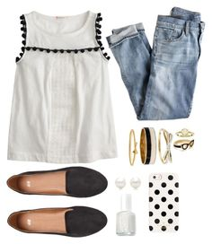 """""""classic black and white"""" by molliemcclendon ❤ liked on Polyvore featuring mode, J.Crew, Kate Spade, H&M, Tiffany & Co., Essie, Kendra Scott et mksfavs"""