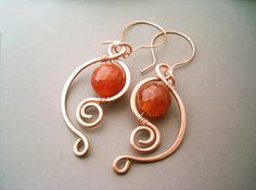 Wire Wrapped Earrings Copper and Red Orange by GearsFactory