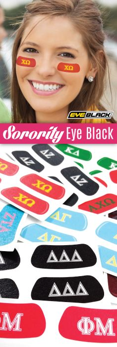 Sorority Eye Black - only 99 cents per pair! https://www.eyeblack.com/greek.html/