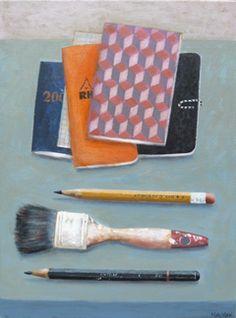 Marion de Man, Notebooks, Acryl op doek, 40x30 cm, €.550,-