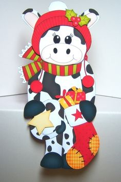 3D on the Shelf Card Kit - Little Christmas Milly Moo Cow - Photo by Katie Silver