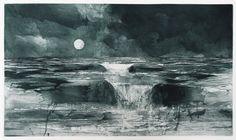 Jake Muirhead, Moonrise Tide, etching and sugar-lift aquatint