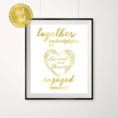 Copper Foil Personalised Engagement Announcement Print He popped the question
