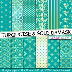 """Damask digital paper: """"TURQUOISE & GOLD DAMASK"""" with gold and turquoise paper damask backgrounds and classical damask patterns by clairetale. Explore more products on http://clairetale.etsy.com"""