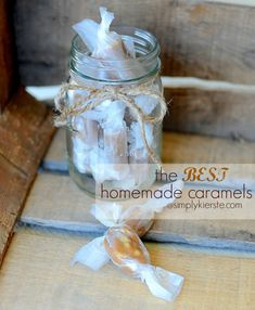 The BEST Homemade Caramels!!!  SO yummy, and worth it!!! #candy #holidaytreats #simplykierste {simplykierste.com}