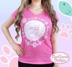 This+design+features+and+adorable+kitten+named+Sparkle.++She+is+on+a+lace+doily+and+has+paw+prints+and+little+fishies+surrounding+her.++A+super+cute+design+great+for+pastel+&+kawaii+fashions.