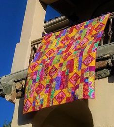 Carnival of Color- Quilt, Blanket, Comforter, Bedspread, Inspired by Kaffe Fassett Collective fabrics Watercolor Quilt, Landscape Quilts, Yellow Fabric, Striped Fabrics, String Art, Mild Soap, Quilting Designs, Quilt Patterns, Comforters