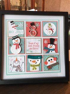 Snowman sampler Christmas Shadow Boxes, Christmas Frames, Christmas Projects, All Things Christmas, Holiday Crafts, Christmas Diy, Christmas Cards, Xmas, Snowman Cards