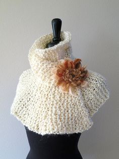 Light Cream Ivory Natural Off White Color Knitted Capelet Turtleneck Dickey  Gaiter Mini Poncho Cowl with Coral Color Crochet Flower Brooch f5af361cc6a