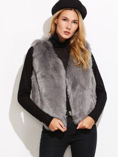 Grey Faux Fur Vest Coat