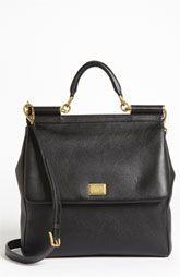 Dolce 'Flat Miss Sicily - Large' Leather Satchel
