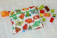 Robots  Reusable Snack Bag  Small Zippered Snack Bag  by WetBagIt, $5.50
