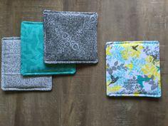 Lot of 4 Gray Yellow Aqua Blue Hummingbird Pattern by StudioLDJ