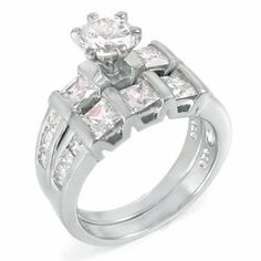 .925 Silver Princess and .85 Ct Cz Brilliant Wedding Ring Set The Knot Jewelry. $38.99. Sterling silver. Wedding ring set. Cubic zirconia. 925 Sterling. Bridal