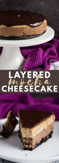 Layered Mocha Cheesecake - An Oreo crust topped with a deliciously creamy chocolate cheesecake layer, a coffee cheesecake layer, and dark chocolate ganache! Easy Chocolate Cheesecake Recipe, Mocha Cheesecake, Easy Cheesecake Recipes, Dessert Recipes, Classic Cheesecake, Homemade Cheesecake, Cheesecake Desserts, Mocha Chocolate, Homemade Chocolate