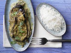 Auberginen-Kokos-Curry - mit Basmatireis - smarter - Kalorien: 302 Kcal - Zeit: 40 Min. | eatsmarter.de