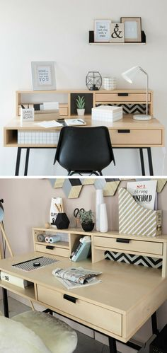 Gadgets 91286 A well thought-out desk, with storage boxes and a small open wall shelf, for organizing, storing and decorating your home! Home Office, Office Desk, My New Room, My Room, Open Wall, Tidy Up, Wall Shelves, Decorating Your Home, Sweet Home