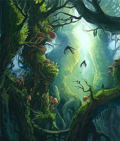 Giant forest by sedeptra on deviantart forrest illustration, fantasy illustration, jungle illustration, digital Fantasy Art Landscapes, Fantasy Landscape, Fantasy Artwork, Landscape Art, Landscape Concept, Fantasy Forest, Magic Forest, Fantasy World, Forest Art