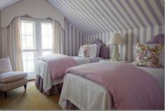 Purple Striped Wallpaper and Two Twin Beds in an Attic Bedroom, Design by Phoebe Howard Girls Bedroom, Purple Bedrooms, Guest Bedrooms, Home Bedroom, Bedroom Decor, Guest Room, Attic Bedrooms, Lilac Bedroom, Quirky Bedroom