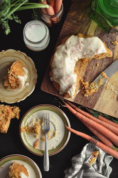 grain- & gluten-free carrot bundt cake w/ almond flour, potato starch, orange zest, cinnamon, ground ginger, nutmeg, allspice, baking powder, carrot, whole eggs & egg whites, vanilla extract, white wine vinegar, sugar, powdered sugar, cream cheese & orange juice