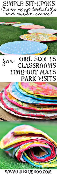 How to Make Simple Sit-upons using vinyl tablecloths. You SIT UPON them so your bottom doesn't get dirty or wet from the bare ground. Would be great for outdoor reading activity or reading corner in the classroom.