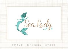 Premade Mermaid Logo Design  Children Logo by CraveDesignsStore