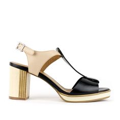 Kupuri 680 T-Strap Sandal for Women - Black/Blush