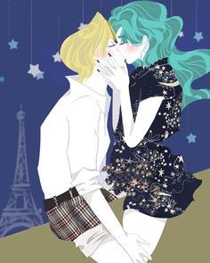 Sailor Moon - Haruka Tenou x Michiru Kaiou - HaruMichi Sailor Moon Tumblr, Sailor Moon Fan Art, Sailor Neptune, Sailor Uranus, Sailor Moon Crystal, Sailor Mars, Yuri, Dancing In The Moonlight, Sailor Mercury