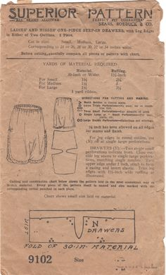 Etsy Studio Message Superior 9102 Misses Step In Drawers Panties Pattern Shaped Hemline Lingerie Sears Roebuck Womens Vintage Sewing Pattern Size Small from mbchills on Etsy Studio Lingerie Patterns, Clothing Patterns, Costume Patterns, Dress Patterns, Vogue Patterns, Vintage Sewing Patterns, Pattern Sewing, Vintage Lingerie, Sewing Techniques