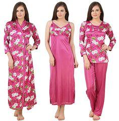 Fasense Women s Satin 4 Pc Set Of Long Nighty Wrap Gown Top b37a1ddd6