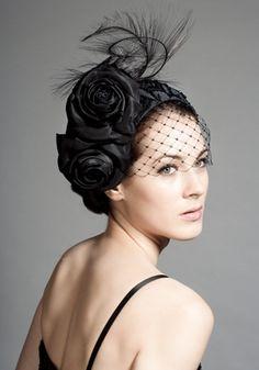 Black silk  taffeta beaded crescent with flowers, ostrich and face veil  Rachel Trevor-Morgan