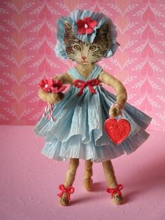 Spun Cotton Kitty on paper doll by Ornaments by Pink