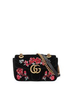 93dd33edb03f8e GUCCI Gg Marmont 2.0 Mini Velvet Shoulder Bag, Black. #gucci #bags #