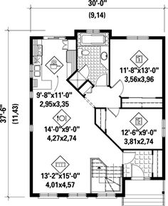 First Floor Plan of House Plan 52493