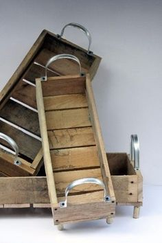 reclaimed Wood Tote Carrier Nesting Baskets for Kitchen Entertaining or Organizers