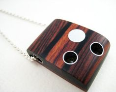 Modern wood Necklace pendant unique sterling silver