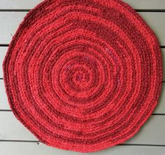 Cotton Rag RugCrochetedBright RedRound Rag by MountainMommaDesigns, $50.00