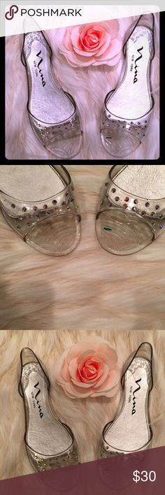 Clear sandal jellies with iridescent rhinestones Beautiful jelly flats that sparkle!! Fit for a princess. New in box. Nina Shoes Flats & Loafers