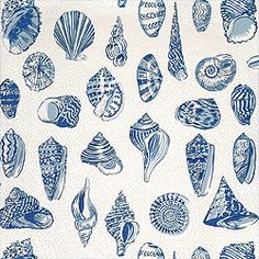 Monterey Outdoor Fabric in Blue on White from the Courtyard Collection by Thibaut-Plan to order for my half-bath to go with my shell collection