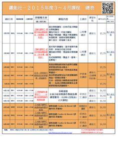 鐵能社烘焙大師之家 (Tetsuno Master Bakery Home): 鐵能社 - 2015年度3~4月課程 報名總表