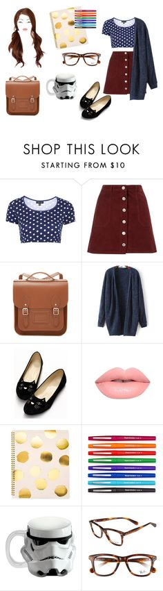 """""""Casual 4"""" by ohlala423 ❤ liked on Polyvore featuring Topshop, Miss Selfridge, The Cambridge Satchel Company, Lime Crime, Sugar Paper, Paper Mate, Vandor and Ray-Ban"""