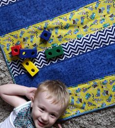 Quilted blanket - Patchwork quilt - Baby blanket - Play mat - Buggy throw - Pram accessories  - Baby boy - tractors - blue chevron - yellow by ImprovHighland on Etsy