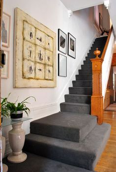 Love the gray carpet on the stairs. Maybe for the bedroom? Love the gray carpet on the stairs. Maybe for the bedroom? Dark Grey Carpet, Dark Beige, Home Depot Carpet, Headboard Decor, Cheap Carpet Runners, Carpet Stairs, Patterned Carpet, Modern Carpet, Carpet Colors