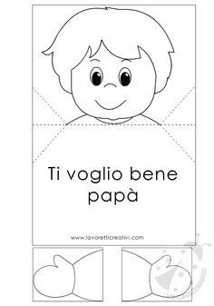 Biglietto pop up per la Festa del Papà con bambino: un lavoretto semplice da realizzare grazie alle sagone disegnate, pronte per essere stampate!