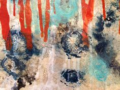 Detail from in progress painting Spores #4: Water Line My interpretation of mold inundating Sandy affected homes