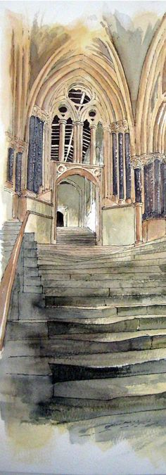 Wells Cathedral Steps ---solid stone worn down by the feet of centuries