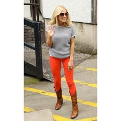 I saw Carrie Underwood wearing red skinnys and a grey top, so I bought red skinnys and a grey top. #forrealthough