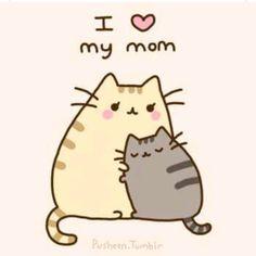 Pusheen the cat hugs his mom. I love my mom pose! pusheen is a girl. Chat Pusheen, Pusheen Love, Pusheen Unicorn, Pusheen Stuff, Crazy Cat Lady, Crazy Cats, I Love Cats, Cute Cats, Chat Kawaii