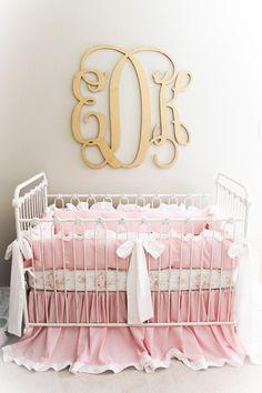 Vintage Glam Pink and Gold Nursery | Monogram Wall Decor Over the Crib | Baby Girl Nursery Ideas
