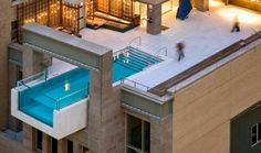 This swimming pool is at the Joule Hotel in Dallas, Texas USA.